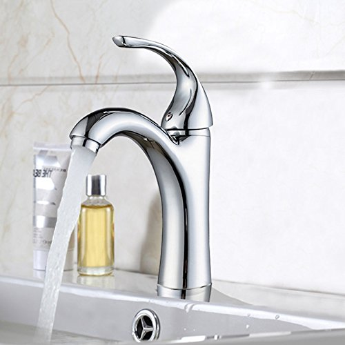 SADASD European Bathroom sink faucet Copper Brushed Waterfall Retro Single Hole Single Handle Hot and Cold Water Ceramic Valve Core Tap With G1 2 Stainless Steel Hose