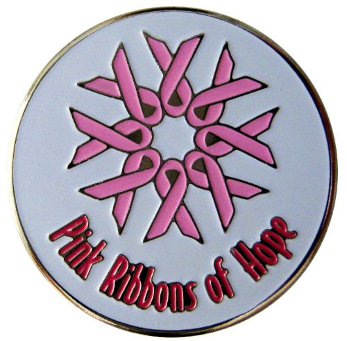 Pink Ribbons of Hope Breast Cancer Support Golf Ball Marker with Matching Hat Clip