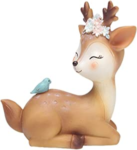 "L.DONG Deer Figurines Toys Decor 4.3"", Cute Fawn Doe Christmas Home Decor Resin Ornament Cake Topper Party Desktop Decoration for Birthday Wedding Anniversary(Quiet)"
