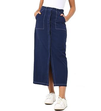 22a7756083e813 SS7 Femmes Jupe Longue Denim Femme de Split Jupes Nouveau Taille 36 ...
