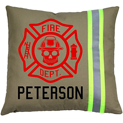 Fully Involved Stitching Firefighter Personalized Tan Maltese Cross Skull Pillow