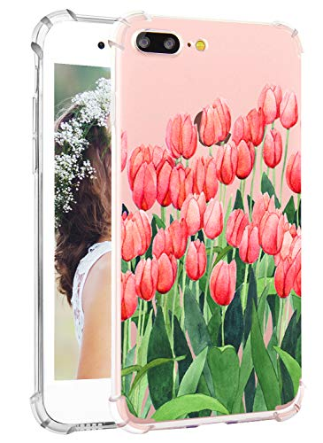 Hepix iPhone 8 Plus Floral Case iPhone 7 Plus Clear Case Pink Tulips Flowers Soft Clear TPU Floral Print Protective Bumper Cover Case for iPhone 7 Plus iPhone 8 Plus
