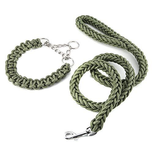 (Yunzhu Heavy Duty Dog Leash Martingale Braided Collar Adjustable Loop Slip Best Choice for Medium & Large Dogs Training & Walking - 4