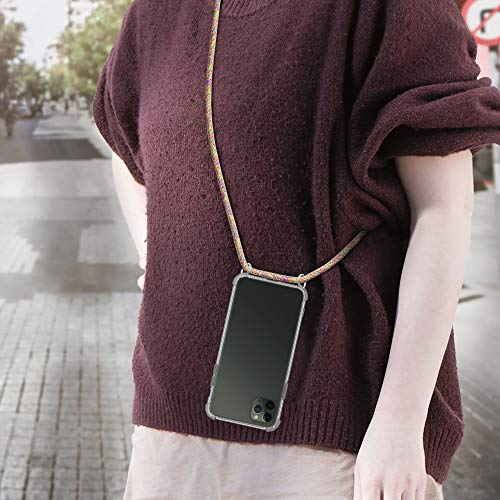kwmobile Crossbody Case Compatible with Apple iPhone 11 Pro Max - Clear Transparent TPU Cell Phone Cover with Neck Cord Lanyard Strap - Transparent/Dark Pink/Violet
