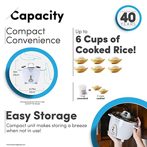 Aroma Simply Stainless 3-Cup(Uncooked) to 6-Cup (Cooked) Rice Cooker, White by Aroma Housewares (Image #4)