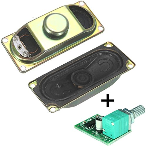 Degraw DIY Speaker Kit - PAM8403 5V amplifier + 2Pcs 4 ohm, 3 watt speakers - Mini class D digital audio amplifier amp board module kit for Arduino - Everything you need for great sounding speakers!
