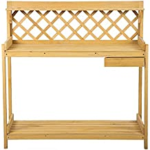 FDW Potting Bench Outdoor Garden Work Bench Station Planting Wood Construction