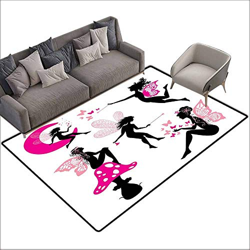 Large Floor Mats for Living Room Colorful Fairy,Girl Silhouettes Sitting on Moon Mushroom Winged Fantastic Dreamy Cartoon,Hot Pink Rose Black 36