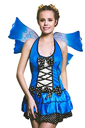 [Adult Women Butterfly Fairy Halloween Costume Blue Pixie Dress Up & Role Play (Small)] (Cheap Sexy Halloween Costumes Ideas)