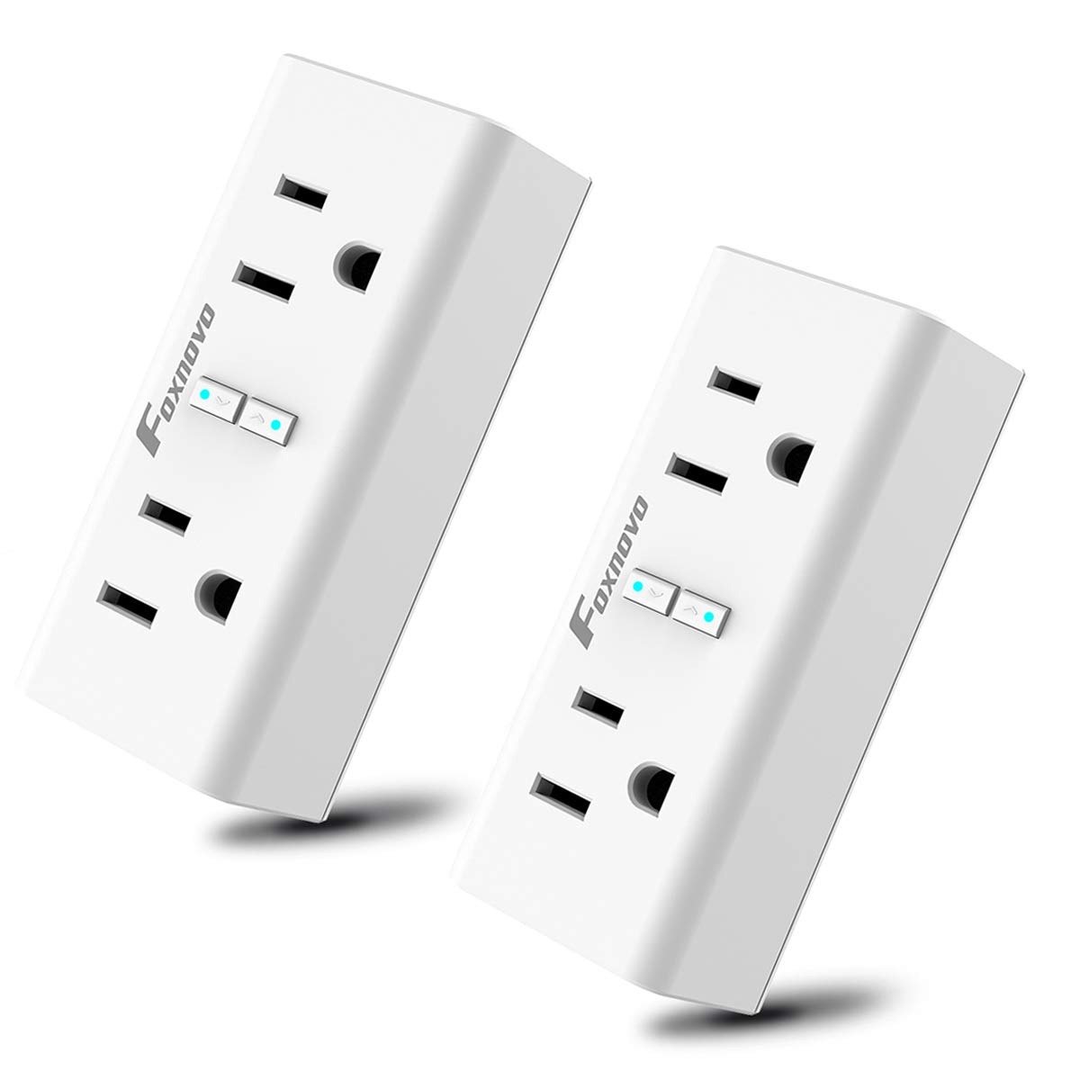 Foxnovo Wi-Fi Smart Plugs Outlet Switch 2 in 1 Mini Sockets with Energy Monitoring and Timer Function, Works with Amazon Echo Alexa and Google Home & IFTTT (2Pack)