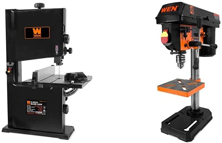 WEN 3959 2.5-Amp 9-Inch Benchtop Band Saw & 4208 8 in. 5-Speed Drill Press