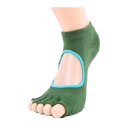 Wenquan,3 pares de calcetines de yoga sin espalda con punta ...