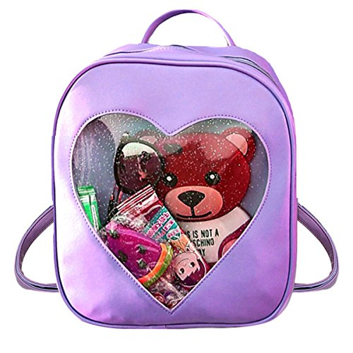Goodbag Girls Clear Candy Ita Bag Transparent Love Heart Backpack School -