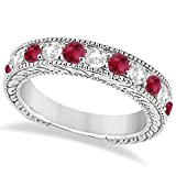 14k Gold Antique Round Cut Diamond and Ruby Gemstone Bridal Wedding Ring Band in Fine