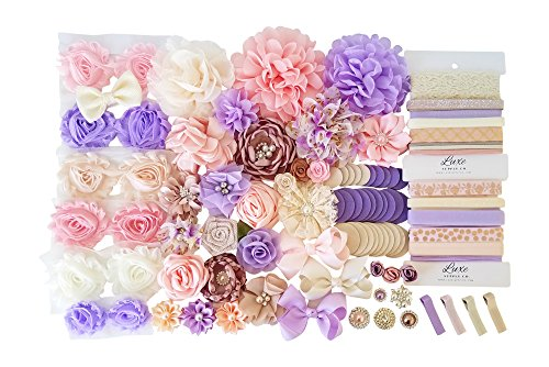 Spring Meadow DIY Headband Kit - Lavender, Peach, Ivory, Light Pink - Makes 28 Headbands and 4 Clips! - Includes Rhinestones and Felt Circles - Great Baby Shower Activity - Mom-to-Be Gift