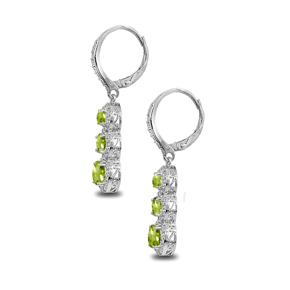 Sterling Silver Genuine Created or Simulated Gemstone Journey Halo 3-Stone Dangle Leverback Earrings for Women