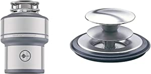 InSinkErator Garbage Disposal, Evolution Excel, 1.0 HP Continuous Feed & SilverSaver Sink Stopper, Polished Stainless Steel, STP-DS