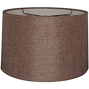12x14x10 chocolate burlap hardback drum lampshade with brass spider 12x14x10 chocolate burlap hardback drum lampshade with brass spider fitter by home concept perfect for aloadofball Image collections