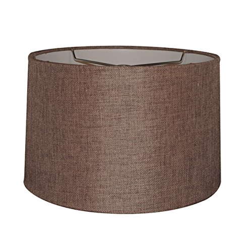 12x14x10 Chocolate Burlap Hardback Drum Lampshade with Brass Spider fitter By Home Concept - Perfect for table and Desk lamps - Medium, Brown (Lamp Shades Brown)