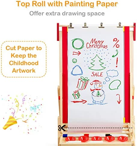 Costzon 3 In 1 Kids Art Easel With Paper Roll, Double Sided Adjustable Chalkboard & White Dry Erase With 4 Drawing Board Clips, Storage Bins, 26 English Alphabet Tiles For Toddlers (Red)