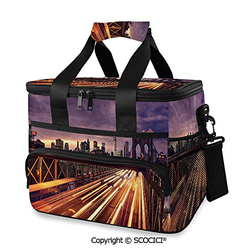 SCOCICI Large Soft Cooler Insulated Picnic Bag Brooklyn Bridge at Night Car Traffic in New York United States Transport for Grocery, Camping, Car (Best Weekend Trips In New York State)