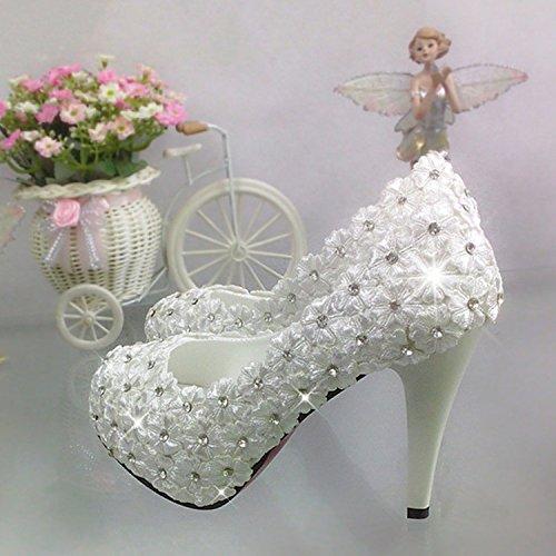 212d8f2fb7 Diamond Boda Alta Zapatos Ladies Con Flor Jingxinstore De Encaje Cristal  Novia La Blanco PcaRq