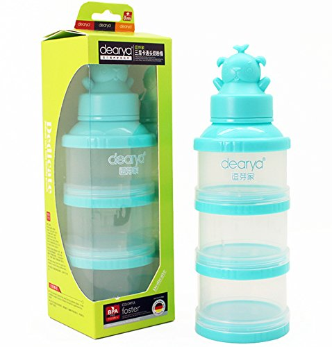 Formula Dispenser, Dearya Twist-Lock Stackable BPA Free On-the-Go 3 Compartments Bear Funnel Baby Milk Powder Dispenser & Snack Container - 300ml 0M+ - 3 Feeds/1 Pack (Blue)