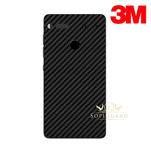 SopiGuard Essential Phone PH1 Carbon Fiber Rear Panel Precision Edge-to-Edge Coverage Easy-to-Apply Vinyl Skins (3M Carbon Black)