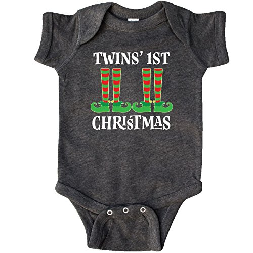 1st Christmas Infant Creeper - inktastic - Twins 1st Christmas Infant Creeper Newborn Retro Heather Smoke 2e0d0