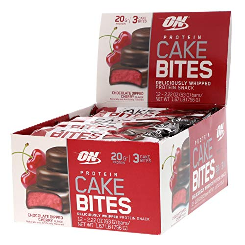 (OPTIMUM NUTRITION Protein Cake Bites, Whipped Protein Bars,On the Go, low sugar, Protein Dessert, Flavor: Chocolate Dipped Cherry, 12 Count)