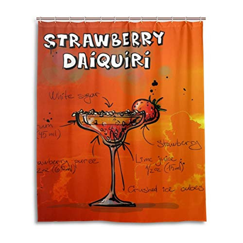 Fungaby Shower Curtain Strawberry Daiquiri Polyester Fabric Curtains Bathroom Decor Set with 12 Pieces Hooks, Bathroom Accessories Size 60