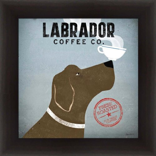 Art Print Chocolate - buyartforless WA 10002 12x12 Espresso 1.25 Glass Framed Chocolate Labrador Coffee Co. by Ryan Fowler 12X12 Art Print Poster Labrador Coffee Cup 1.25