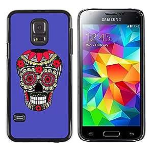 Shell-Star Arte & diseño plástico duro Fundas Cover Cubre Hard Case Cover para Samsung Galaxy S5 Mini / Samsung Galaxy S5 Mini Duos / SM-G800 !!!NOT S5 REGULAR! ( Purple Pattern Floral Skull Death )