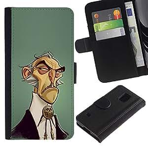 A-type (Man Wild West Style Fashion) Colorida Impresión Funda Cuero Monedero Caja Bolsa Cubierta Caja Piel Card Slots Para Samsung Galaxy S5 V SM-G900