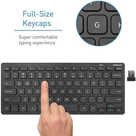 Macally 2.4G Mini teclado inalámbrico – ergonómico y cómodo – pequeño teclado para ordenador portátil o Windows PC, tableta, Smart TV – Plug & Play Teclado compacto 12 teclas de acceso rápido multimedia 8