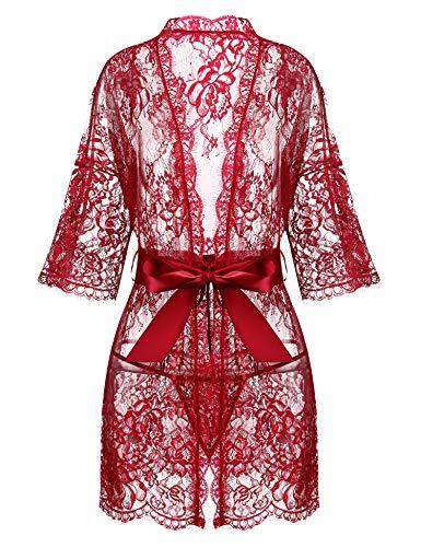 Models Hot Lingerie (Avrilove Women's Kimono Eyelash Lace Robe Babydoll Lingerie Mesh Chemise Nightdress Nightgown (Red, L))
