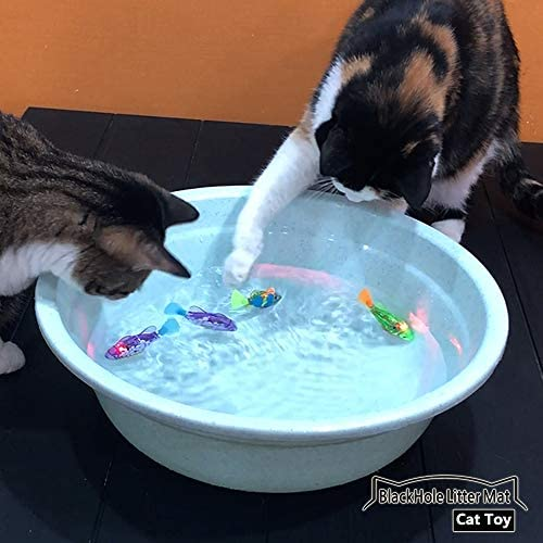 BlackHole Litter Mat Interactive Swimming Robot Fish Toy for Cat with LED Light (4 pcs), Electronic Cat Toy to Stimulate Your Cat's Hunter Instincts 7
