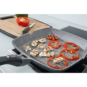 Coninx Grill Pan With Detachable Handle | 100% PTFE and PFOA Free Square Griddle Pan | Nonstick Cookware for any Heat Source including Induction and Oven | 11-inch | Dishwasher Safe