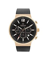 OBAKU V180GCVBMB Men's Black Dial Classic Chronograph Watch with 3 Hands