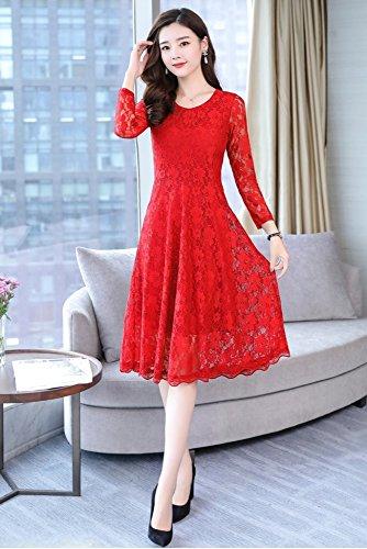 MoMo Frühlingsfrauen langärmelige lange Spitze unten Kleid Kleid  Temperament schlankes dünnes Kleid Groß Rot CoYDA5 8b2d437b44