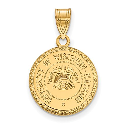 (Solid 925 Sterling Silver with Gold-Toned University of Wisconsin Medium Crest Pendant)