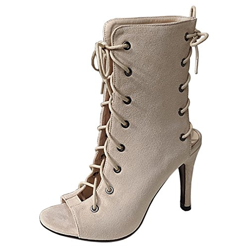 up Beige Gladiator Lace Shoes Fashion TAOFFEN Women wn7zqBx1