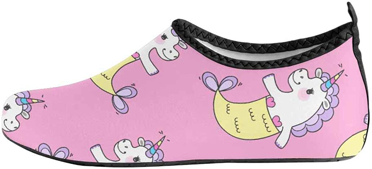 INTERESTPRINT Mens Water Shoes Swim Socks Cute Unicorns Beach Swim Shoes Quick Dry Aqua Socks Pool Shoes