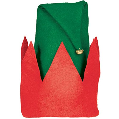 Kids Dress Up Uk (Fun-Filled Christmas and Holiday Party Child Elf Hat , Green/Red, Felt , 13