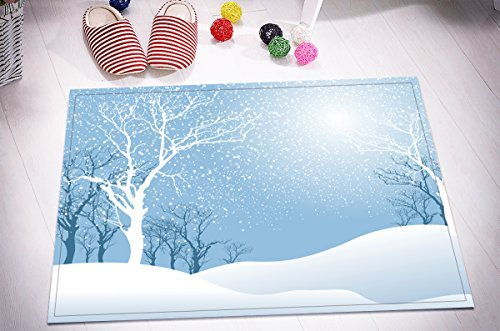 Merry Christmas Season Eve New Year Decorative Decor Gift Stylish Bath Rugs 3D 16x24 Inch Customized Personality Fresh Bright Moonlight White Tree Hill Outdoor Indoor Front Door Mat Non-slip Bath -