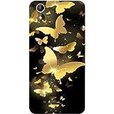 Casotec Golden Butterfly Pattern Design Hard Back Case Cover for Micromax Canvas Selfie Lens Q345