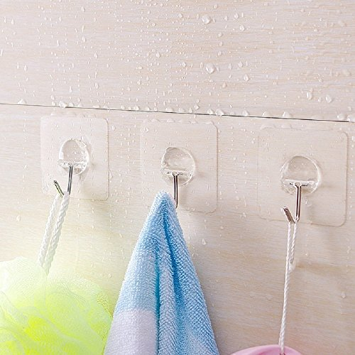 13.2lb/6kg Nail Free Transparent Reusable Wall Hanger Plastic Strong Self Adhesive Hooks Waterproof and Oilproof for Kitchen Bathroom Hooks (a--10pack) 80%OFF