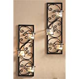 """Hosley's Set of Two 13.75"""" High Black Iron T-Lite Wall Sconce"""