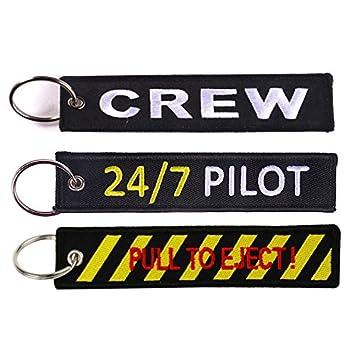 Llavero Tomcrazy CREW, 24/7 PILOT de doble cara bordado de ...