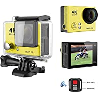 Sport Camera, TONSEE Waterproof H2R Super Slim Ultra HD 4K Video Sport Camera Remote Control, Yellow